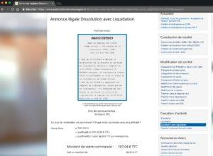 Exemple d'annonce légale de dissolution et liquidation d'une SARL département 69
