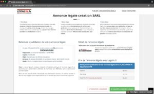 Exemple d'annonce légale de création de SARL département 92