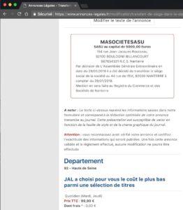 Exemple d'annonce légale de transfert de siège social dans le même Greffe