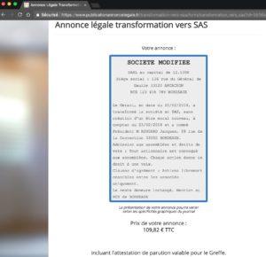 Exemple d'annonce légale de transformation de SARL en SAS