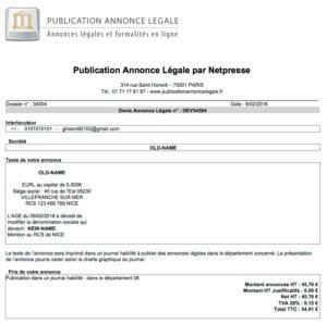 Exemple d'annonce légale de modification du nom de la société