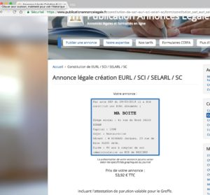 Exemple d'annonce légale de création de EURL département 34 Hérault