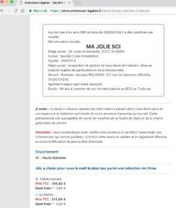 Exemple d'annonce légale de création de SCI département 31