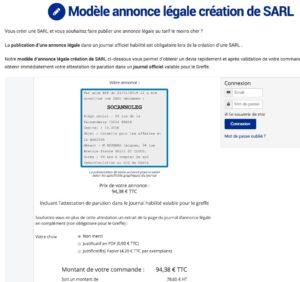 Ex annonce légale de création de SARL département 92