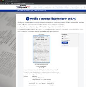 Annonce légale pas chère de création de société de forme juridique SAS